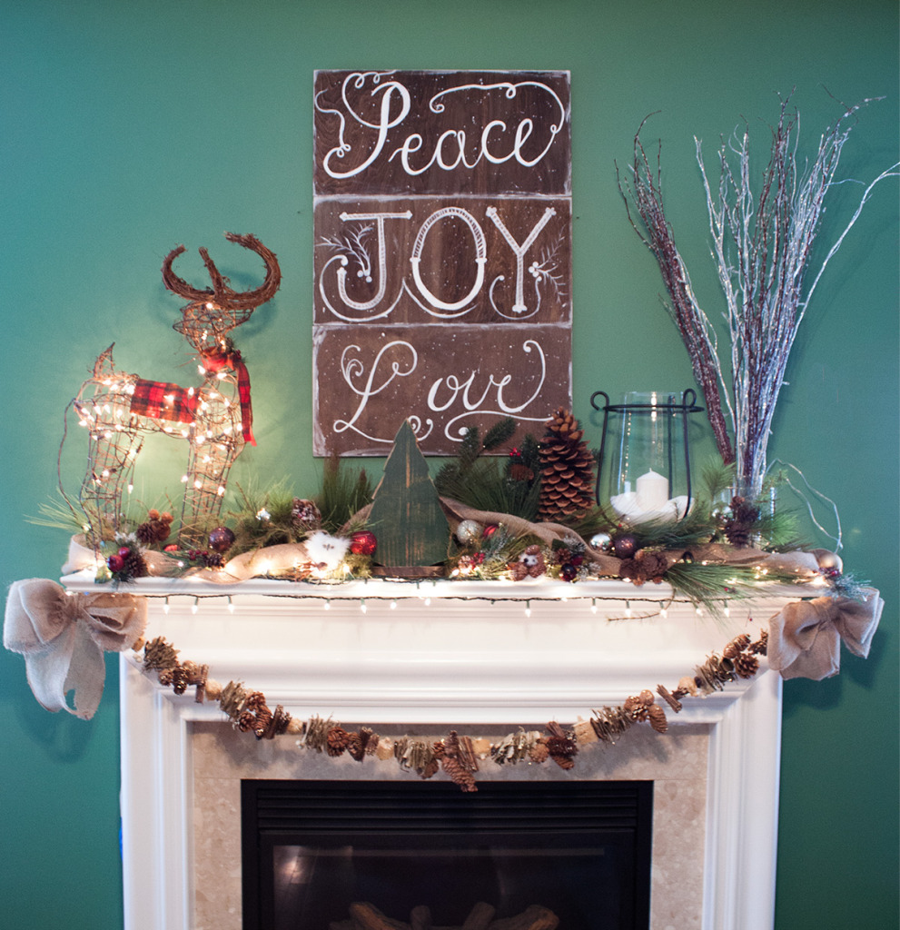 christmas-mantel-woodland