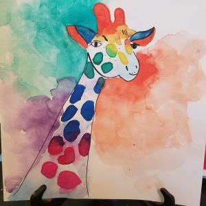 9x12 Original Watercolor Giraffe Painting