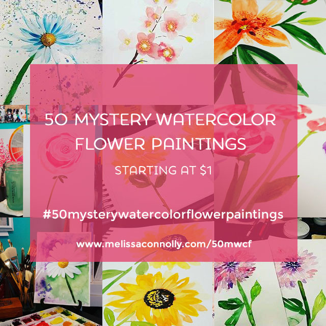 Update! 50 Mystery Watercolor Flower Paintings – Your Choice!